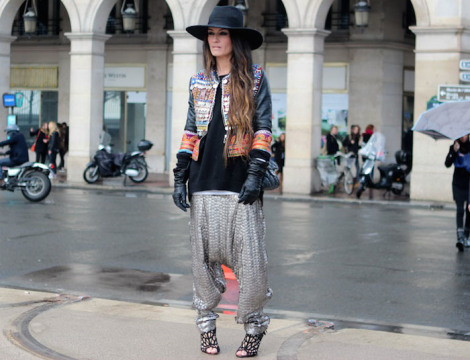 grey harem pants, wide brimmed hat, embellished jacket