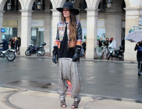 grey harem pants, wide brimmed hat, embellished jacket