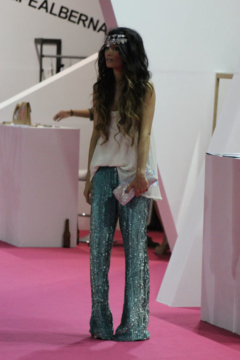 sequined pants, silver headpiece
