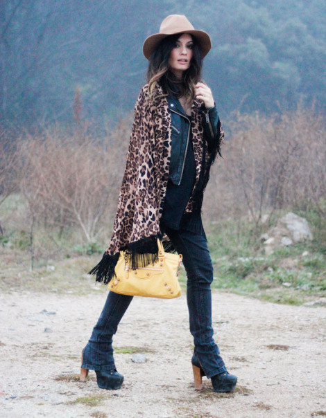leopard print, yellow purse, jeffrey campbell shoes, floppy hat