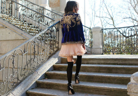 pink skirt, embellished jacket, gold sequins, knee high socks