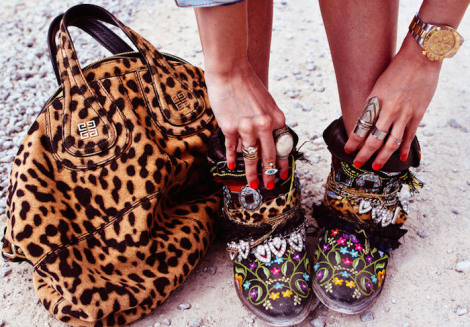 leopard print purse, ankle high boots