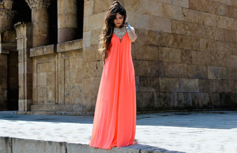 coral gown, silver bohemian necklace