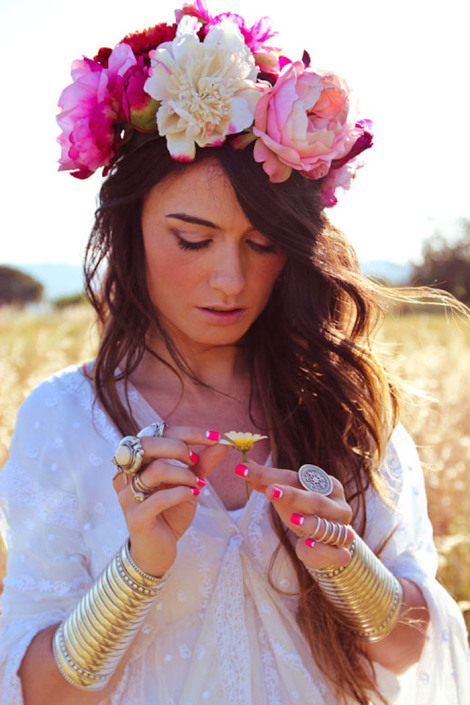 floral head crown, ethereal, arm cuffs
