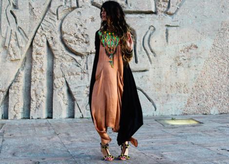 peach dress, statement necklace