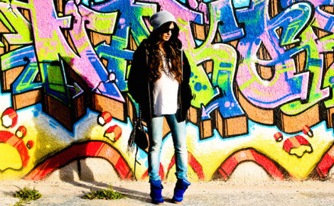 graffiti wall, sneaker wedges, beanie