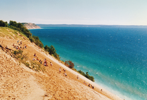 I visited Sleeping Bear Dunes in 1997. The new wilderness designation preserves 65 miles of Lake Michigan shoreline, several inland lakes, some offshore islands, the magnificent sand dunes, and many bluff (including Sleeping Bear Bluff).