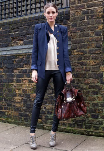 great colour combo of blue jacket and wine bag