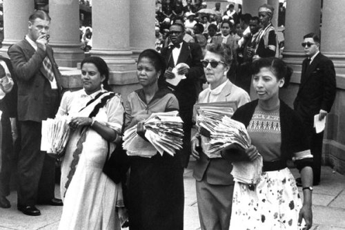 from left :  Rahima Moosa, Lilian Ngoyi, Helen Joseph, and Sophia Williams - de Bruyn