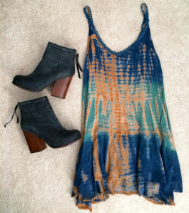 Tie-dye drop waist dress with black faux leather boots with chunky wooden heels