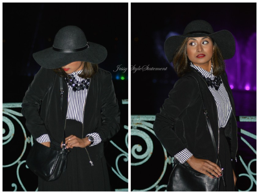 The hat is the main accessory of this ladylike monochrome look ! It actually gives a mysterious and elegant Parisian touch !